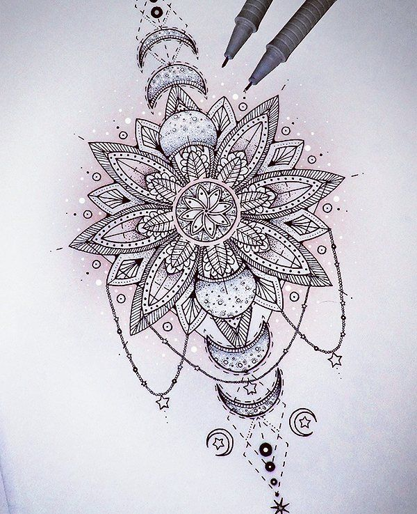 @Saphirevicky on Instagram - mandala eclipse tattoo design