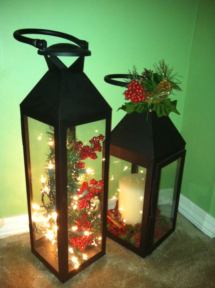 25 best ideas about christmas lanterns on pinterest for Images of lanterns decorated for christmas