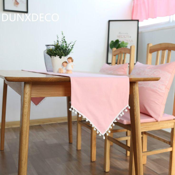 Nice G nstige DUNXDECO Frische Romantische Rosa Kleine Kugel Nette Frindge Leinenbaumwolltischl ufer Party Tischdecke K che Abdeckung Dekoration