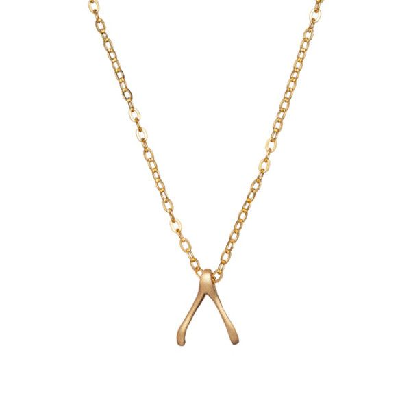 MINNIE GRACE gold Wishbone charm necklace | La Luce