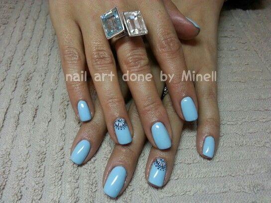 mixed pastel blue nail art