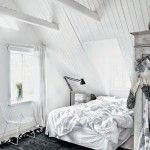 Your Attic For Bedrooms Theme Of White, And Black Rugs Chair, Stand Lights With Creative Design