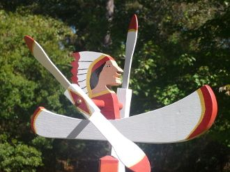 Indian Paddling Canoe Whirligig