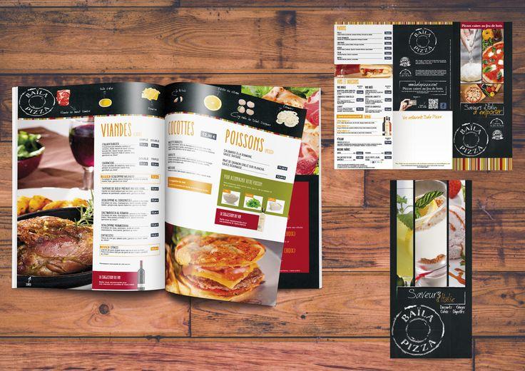 #Design & Gourmandise : univers #créatif et supports réalisés par l'agence Axellescom (Nantes) pour le #restaurant italien / #Pizzeria #Baïla #Pizza. #catalogue #carte #menu #edition #mokeup