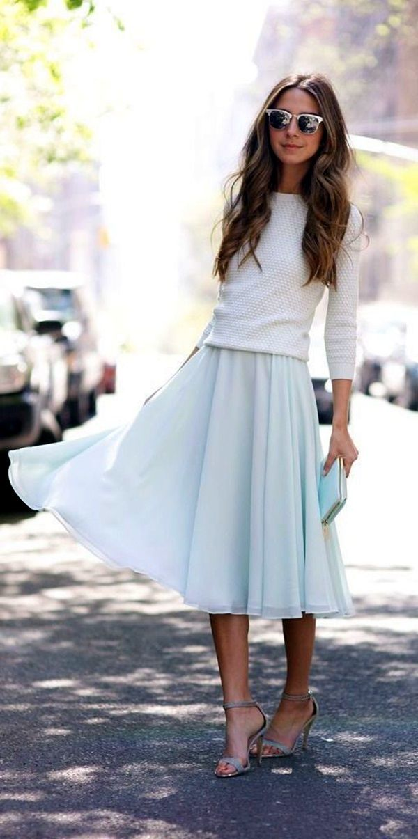 17 best ideas about blue skirt outfits on pinterest Fashion street style pinterest