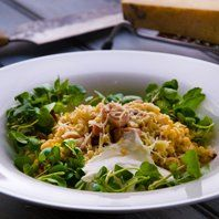 "Barleyotto or a barleyporridgde with a cured ham served with a mature hard cheese, watercress and sourcream... ..the basic recipe on a grain nordic ""Otto"" Viking-style.... ...this time our recipe is published on Channel4 SundayBrunch  ....more recipes and link to movieclip on www.lindholmhoeje-cafe.dk"