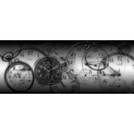 Montage of Old Pocket Watches Canvas Art - Panoramic Images (30 x 12)