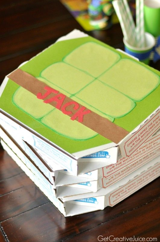 TMNT party favor boxes - crafted pizza boxes