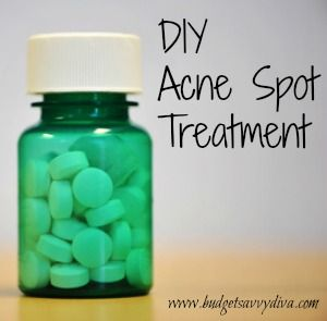 How to Make Your Own Acne Spot Treatment | Budget Savvy Diva    How to Make Your Own Acne Spot Treatment  1. Put a few drops of water on 2-3 tablets of uncoated or lightly coated aspirin  2. Massage the tablets until they begin to dissolve and feel mushy  3. Apply to areas needed for 5 minutes  4. Rinse off and moisturize!