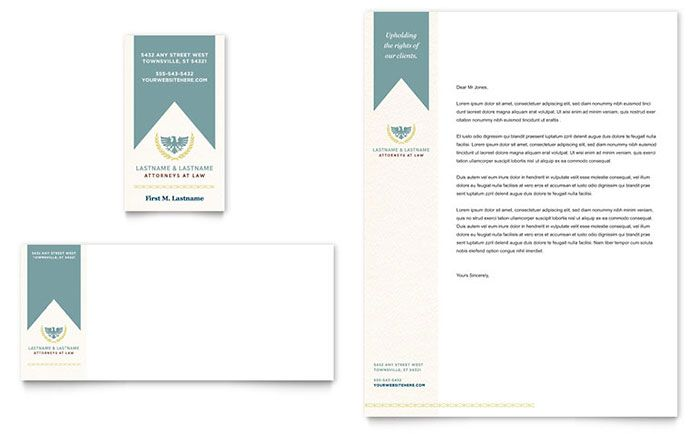 Law Firm Business Card and Letterhead Template Design by StockLayouts