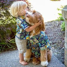 'My Little Buddy is finally back from Hawaii, and all is right with the world again' ~ Reagan the Australian Labradoodle Dog with his Little Buddy - Aww!