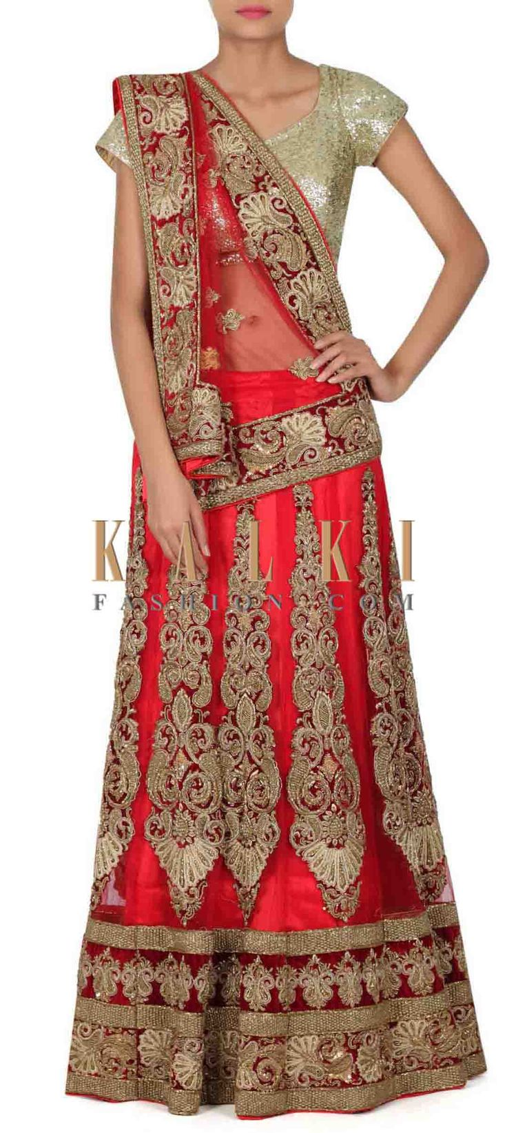 Buy this Red semi stitched lehenga in zardosi patch work only on Kalki
