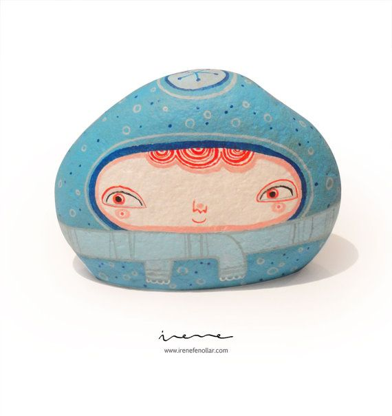 Kälte  stone hand painted by IreneFenollar on Etsy, €45.00 Free shipping cost to Spain!!!