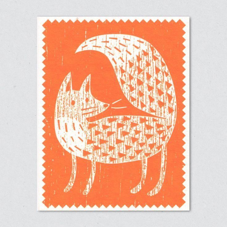 lisa jones studio recycled greeting card, contemporary woodcut of a fox