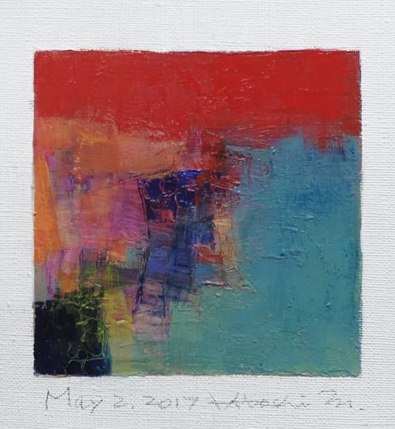 May 2 2017  Original Abstract Oil Painting  9x9 painting 9