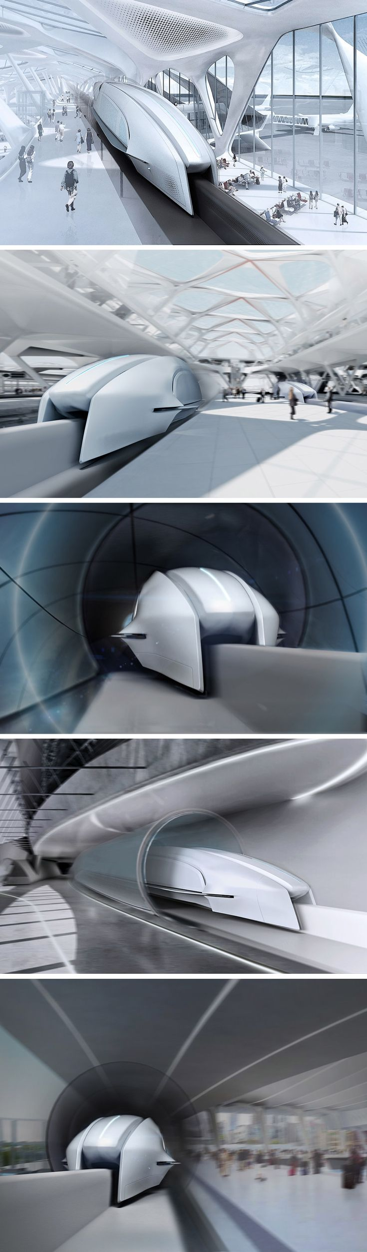 A challenger to Hyperloop, the air-cushioned Spacetrain aims to deliver passengers at a whopping 745 MPH! Set to test in 2019, the first prototype will use a hydrogen turbine. Made entirely of carbon fiber and CNT, the interurban shuttle will use graphene carbon breaks, graphene batteries, fuel cells, and other state of the art space technologies.