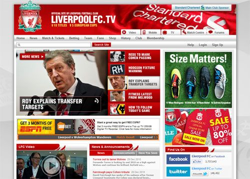 Here is an image of the Liverpool football club website, simple colours of red and white, a lot of headings this is a nice simple home page