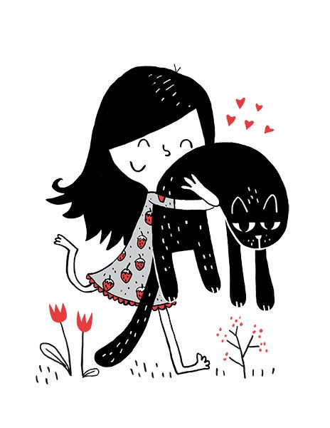 Elise Gravel  New print:  Girl and cat  cat • Illustration • drawing • art • cute • love • children • funny • friends • friendship • pet • red and black •
