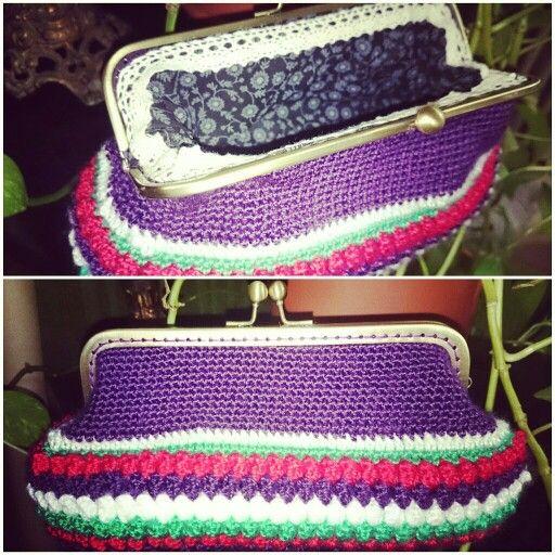 Mi primer bolsito cartera hecha a crochet, con punto garbanzo o pop corn..