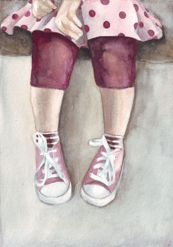 Original watercolor painting Little Girl Legs and Pink by HelgaMcL, $24.00
