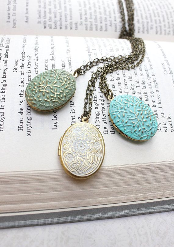 Oval Locket Necklace Aqua Blue Patina Pendant by apocketofposies