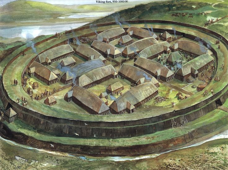 Viking Trelleborg.  With increasing christian agression, more and more settlements had to be converted into such heavily guarded Fortresses
