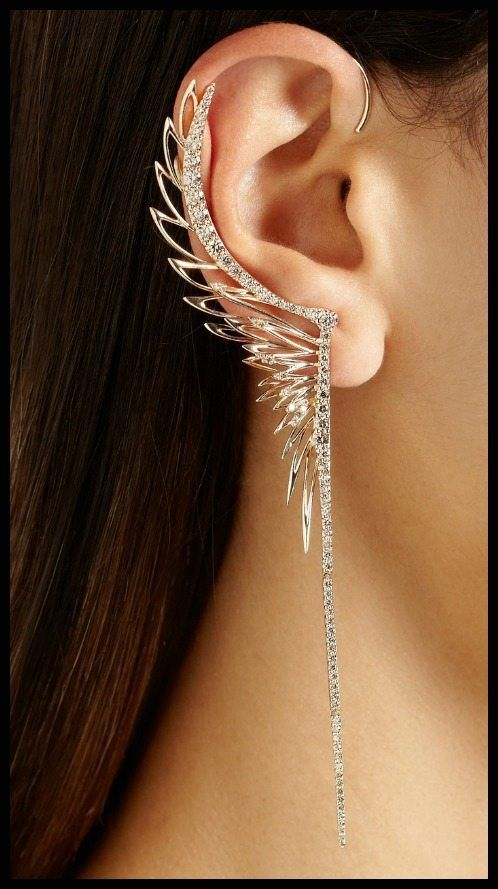 faerie couture | Cristina Ortiz 9-karat rose gold diamond large ear cuff.