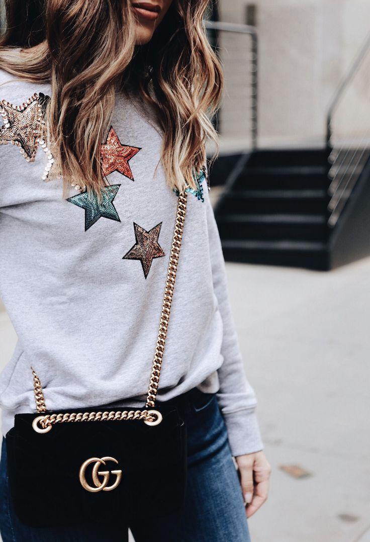 Graphic Sweatshirt | Velvet Gucci Purse