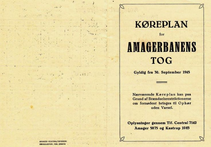 EVP - Amagerbanen - Indledning.