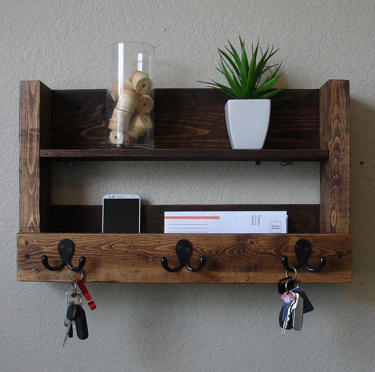 Rustic Entryway 3 Hanger Hook Coat Rack with Shelf and Mail Phone Key Organizer by KeoDecor on Etsy https://www.etsy.com/listing/165467937/rustic-entryway-3-hanger-hook-coat-rack