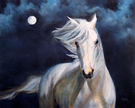 White Horse ART PRINT Horse Picture by MarinaPetroFineArt on Etsy