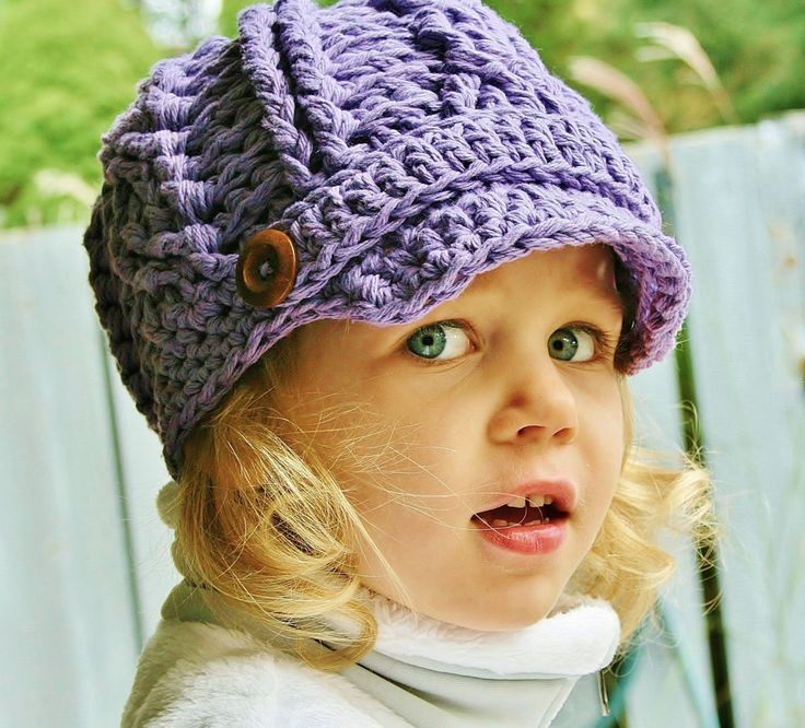 Girls Crochet Newsboy Hat, Toddler Crochet Hat, Cotton, Crochet Hat, Purple, Hat, Knit Hat,Kids, spring celebrations, cotton hat, purple, by rubywebbs on Etsy https://www.etsy.com/listing/168597067/girls-crochet-newsboy-hat-toddler