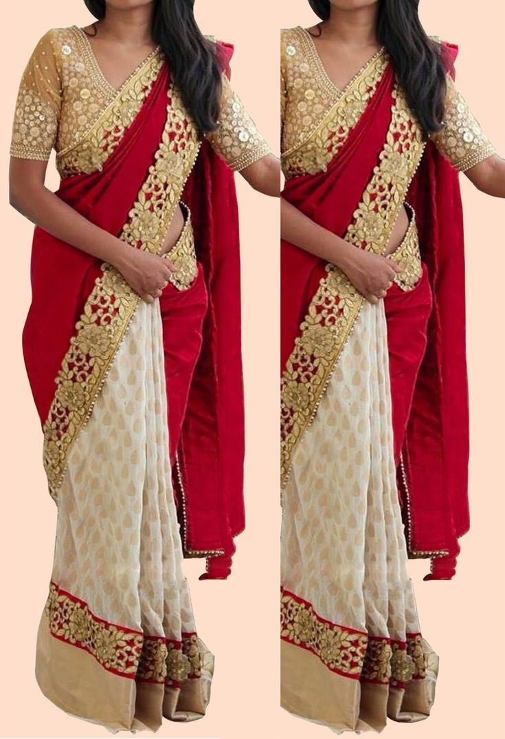 Shop Inspired style white and red color silk georgette party wear saree at kollybollyethnics with free shipping offer to USA, UK, Australia,Canada and many countries.
