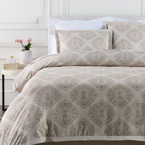Anniston Neutral Three Piece Full/Queen Duvet Set Duvet Set Duvet Covers & Duvet Sets Bed