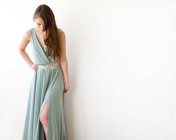 Maxi Mint Gown  Sexy Front Slit  Bridesmaids dress by BLUSHFASHION