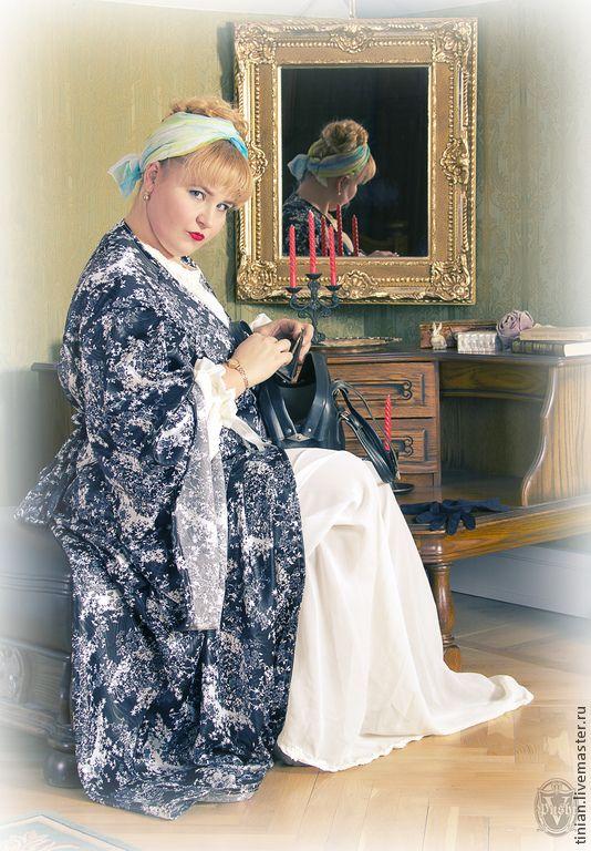 УЮТНАЯ КРАСОТА - черно-белый,цветочный,халатик,большой халат,красивый халат