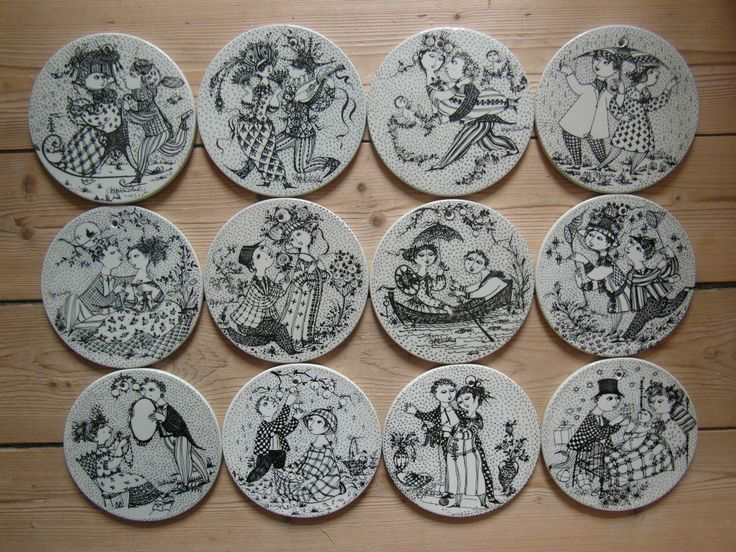 Bjørn Wiinblads set of 12 month plaques. by Nymolle
