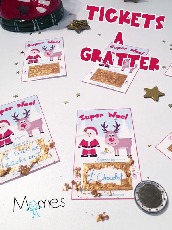 Pour une petite animation surprise à la fin du repas ou juste pour le plaisir de faire un p'tit cadeau rigolo, voici nos tickets à gratter de Noël à personnaliser. Un tuto-brico super facile avec un résultat trop chouette très proche de véritables tickets de jeux à gratter.