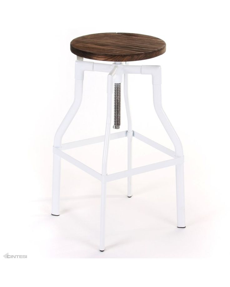 turner replica crank stool - white, rustic wood: $129 on special