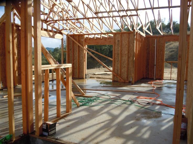 Rain water on slab foundation.