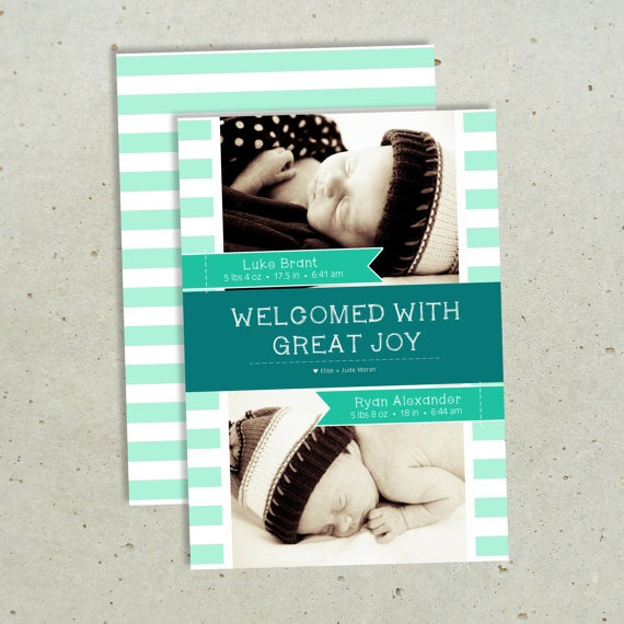Twins Birth Announcement  Stripes Welcomed  DIY by olivebumbleink, $15.00
