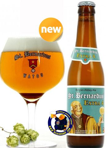 "Our New Beer: St-Bernardus Extra 4  Extra 4 is a classic Belgian ""Single"" style. Hazy deep hay yellow liquid with a medium white head. Aroma of wheat, perfume, cloves, bread, spices and white pepper. Medium bitterness with flowery sweetness. Yeast, grass, fruit, hops and citrus. Extra 4 will be a unique, tasty and refreshing spring and summer quencher with a lower ....  Available online at http://store.belgianshop.com/abbey-beers/1402-st-bernardus-extra-4-48-13l.html"