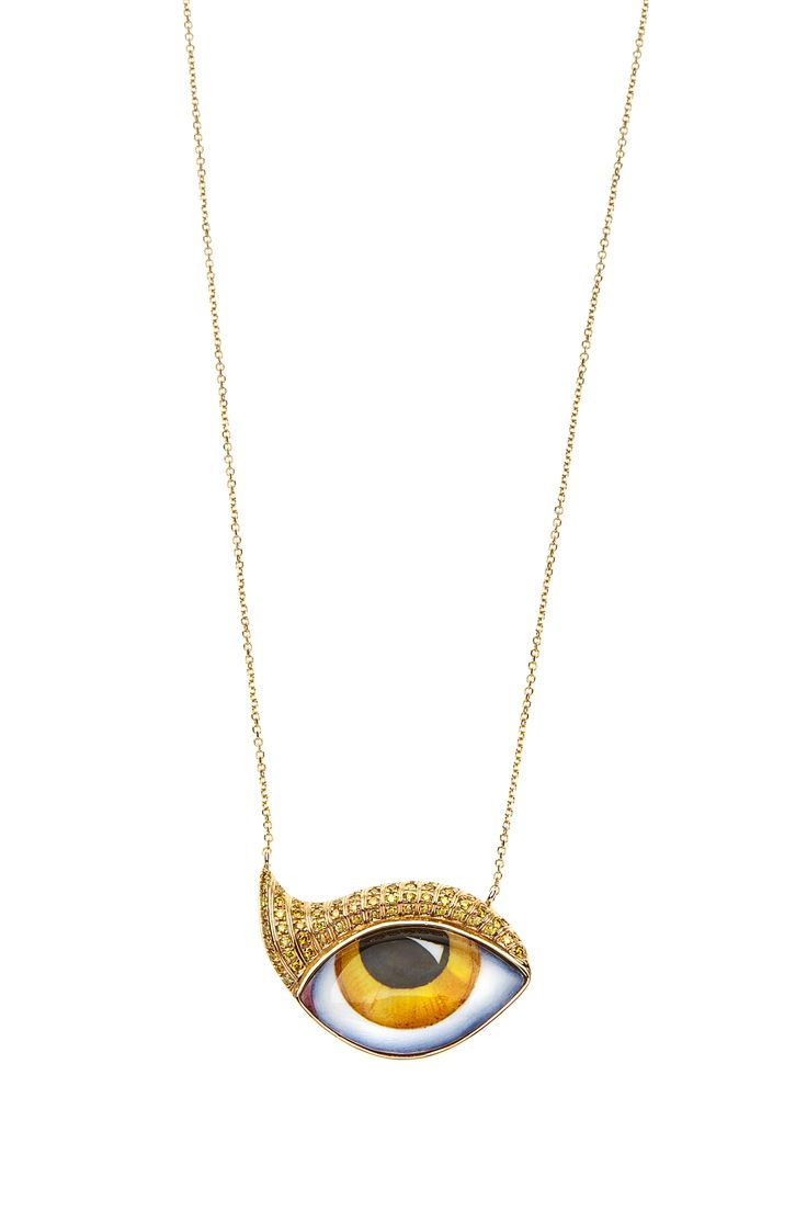 "New ""Tu Es Partout"": Studio 54 Yellow gold necklace with yellow eye and canary Diamonds www.lito-jewelry.com"