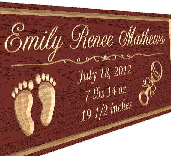 Red Oak Sign Baby Name Carved Wooden Sign Custom by TKWoodcrafts, $27.95                                                                                                                                                                                 More