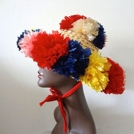 58a8212692445 1960s Sun Hat wide brim straw hat with raffia flowers - vintage tiki party  attire resort accessory
