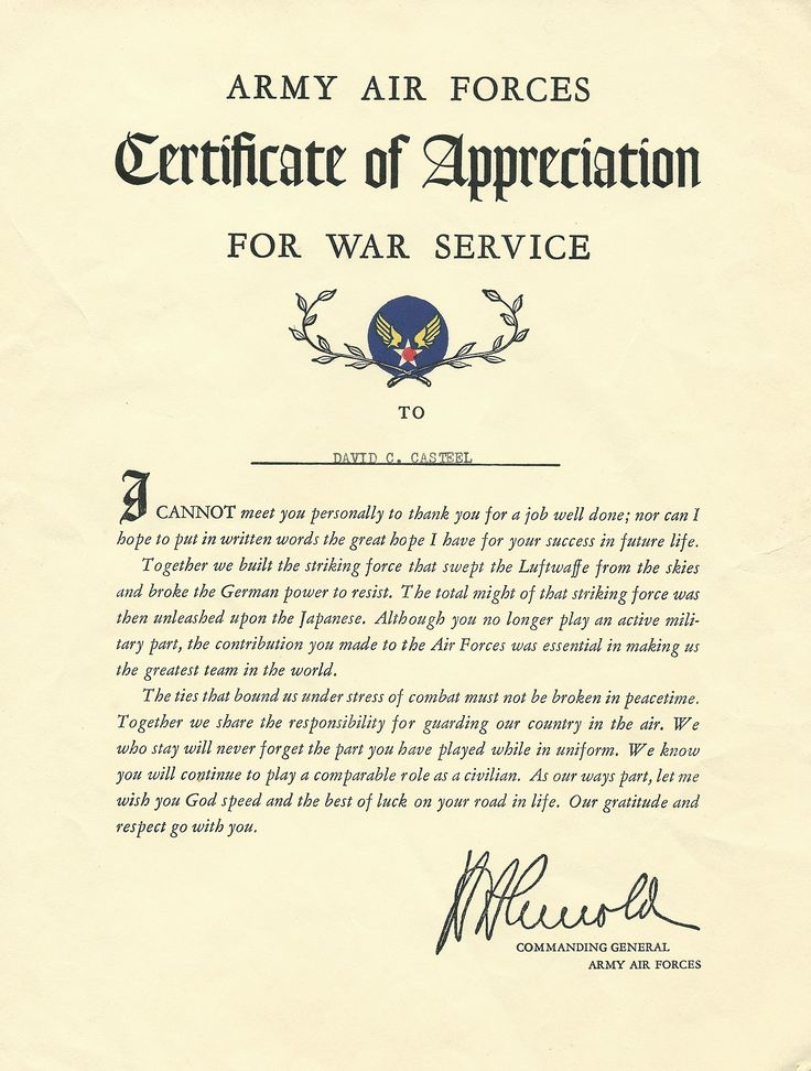 149 best David C Casteel - WWII 301 Bomb Group, 352 Bomb Squadron - army certificate of appreciation