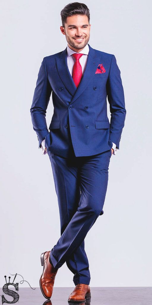 Men's royal blue suit, red tie, red pockets square, Mens custom suits, customized suits, affordable suits @sharpsense1