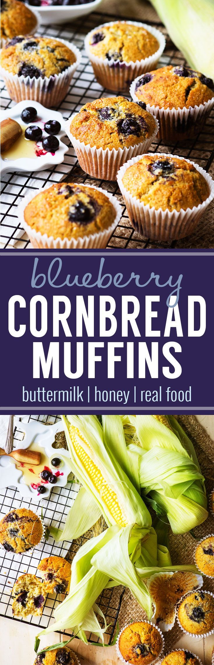 Blueberry Cornbread Muffins - made with corn, buttermilk and honey. This is a delicious fall breakfast! Make these ahead of time so you have a grab 'n go breakfast for the weekday. #cornbread #muffins #blueberrymuffins #breakfast