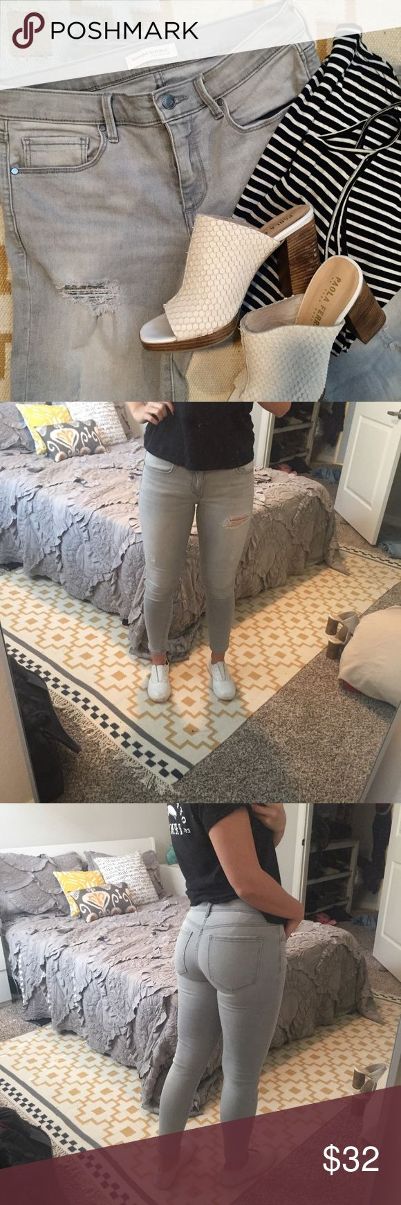 Banana Republic Grey Skinny Jean Banana Republic Grey Skinny Jean. Stretchy fit that stays in place through multiple wears. This pair has been worn once (I own the same pair in a different color). Banana Republic Jeans