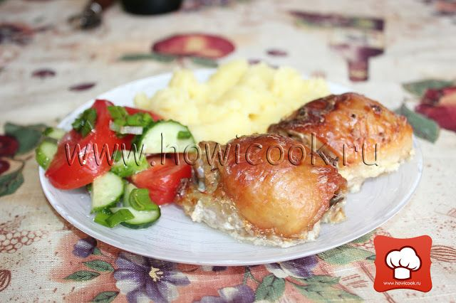 Курица, запеченная в сметане с чесноком